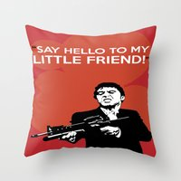 scarface Throw Pillows featuring Scarface Say Hello to My Little Friend by Florian Rodarte