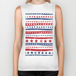 Stars and stripes American holiday patchwork pattern Biker Tank