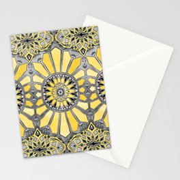 Sunny Yellow Radiant Watercolor Pattern Stationery Cards
