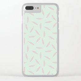 Pillow Fight, Rose on Mint Clear iPhone Case