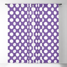 White Polka Dots with Purple Background Blackout Curtain
