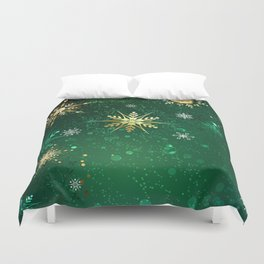 Gold Snowflakes on a Green Background Duvet Cover
