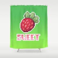 strawberry Shower Curtains featuring Strawberry by torimisu