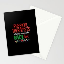 Christmas Physical therapist, nice list Stationery Cards