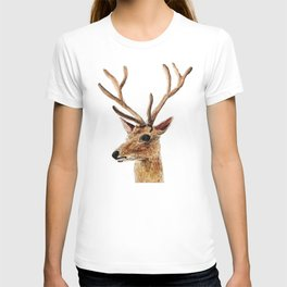 deer watercolor painting T-shirt