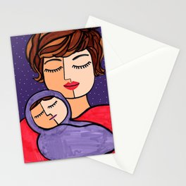 Mother and Baby - Short Brown Hair Stationery Cards