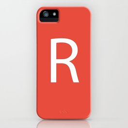 Letter R Initial Monogram - White on Alizarin iPhone Case