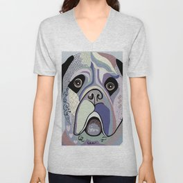 Mastiff in Denim Colors Unisex V-Neck