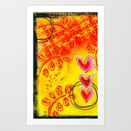 Three Hearts Art Print