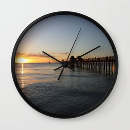 Naples Pier Sunset Wall Clock