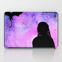 mother of dragons iPad Cases featuring Mother of Dragons Silhouette over Purple Watercolor by Jessica Barst