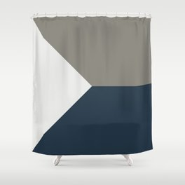 Blue Grey White Abstract Geometric Art Shower Curtain