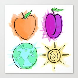 Peach, Plum, Earth, Sun Canvas Print