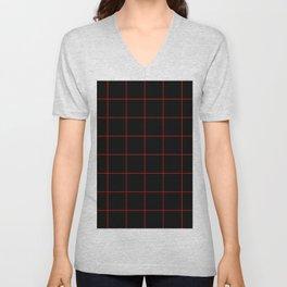 Graph Paper (Red & Black Pattern) Unisex V-Neck