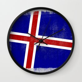 Icelandic Distressed Halftone Denim Flag Wall Clock