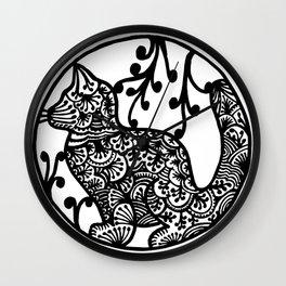 Boho Cat Illustration Black and White Paisley Wall Clock