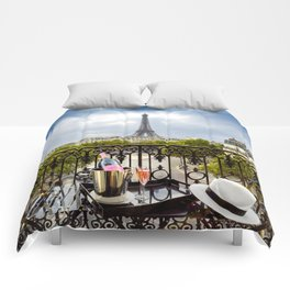Eiffel Tower Paris Balcony View Comforters