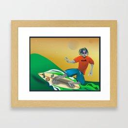 Surfer Alien Framed Art Print
