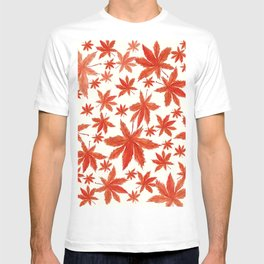 red maple leaves pattern T-shirt