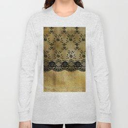 Black floral elegant lace on gold metal background Long Sleeve T-shirt