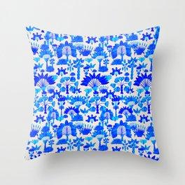 Exotic Garden Blue Throw Pillow
