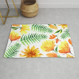 Palm leaves and colorful tropical flowers Rug