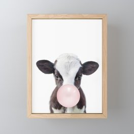 Bubble Gum Baby Cow Framed Mini Art Print