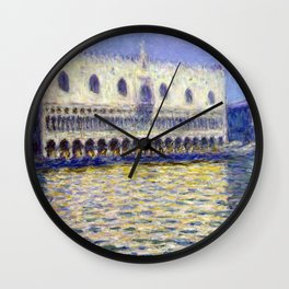 1908-Claude Monet-The Doges Palace (Le Palais ducal)-81 x 99 Wall Clock
