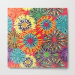 Bright Colorful Abstract Flowers Metal Print