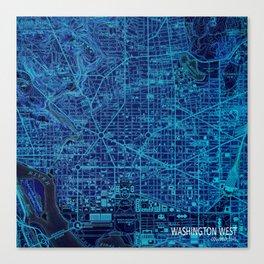 Washington West Columbia year 1945 old blue map Canvas Print