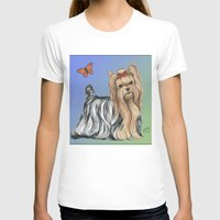 yorkie T-shirts featuring Yorkshire Terrier - Yorkie- by Nina Lyman of Dogs By Nina by Cats and Dogs by Nina Lyman