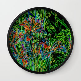 Neon Garden Flowers Wall Clock