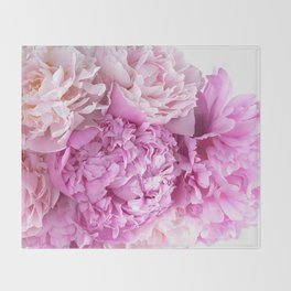 Pink Peonies Shabby Chic Cottage Peonies Throw Blanket