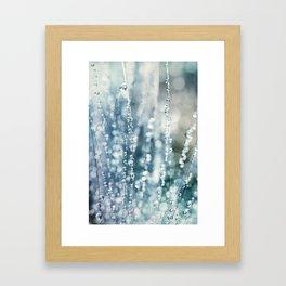 Blue Grass Drops Framed Art Print