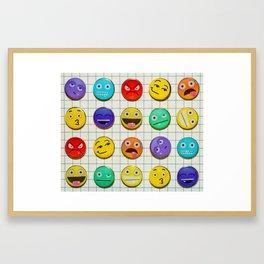 Mixed emojions Framed Art Print