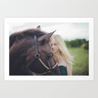 A girl and a horse Art Print
