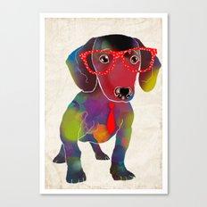 dachshund in glasses Canvas Print