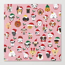 Christmas Dog Pattern Illustration Canvas Print