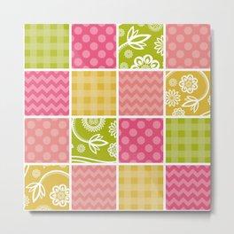 Zigzag, Polka Dots, Gingham - Green Pink Yellow Metal Print