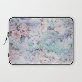 Shabby vintage pastel pink teal floral butterfly typography Laptop Sleeve