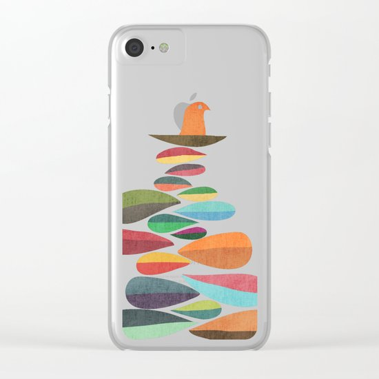 Bird nesting on top of pebbles hill Clear iPhone Case