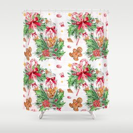 Christmas gingerbread candy cane Shower Curtain