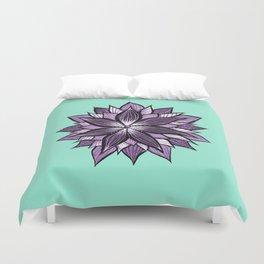 Purple Mandala Like Abstract Flower Duvet Cover