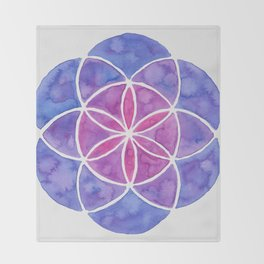 Watercolor Seed Of Life - Purple Tones Throw Blanket