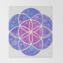 Watercolor Seed Of Life - Purple Tones Throw Blanket