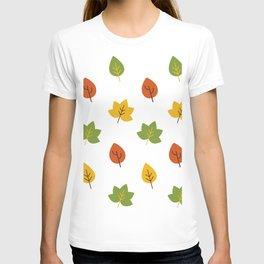 Autumn Minimalist Oak and Maple Leave Falling T-shirt