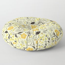 Yellow, Green & Black Floral/Botanical Pattern Floor Pillow