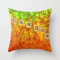 london map Throw Pillows featuring London Map by Ganech joe