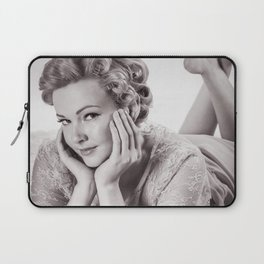 """""""Curlers Before Bed"""" - The Playful Pinup - Lounging in Lace Pin-up Girl by Maxwell H. Johnson Laptop Sleeve"""