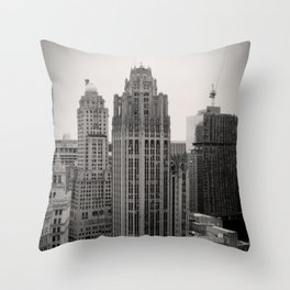 Chicago Tribune Tower Building Black and White Photo Throw Pillow